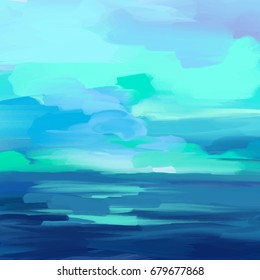 Abstract brush stroke background, picturesque oil painting vector illustration with marine motif