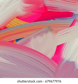 Abstract brush stroke hand-drawn background, picturesque oil painting, vector illustration with colorful rainbow palette