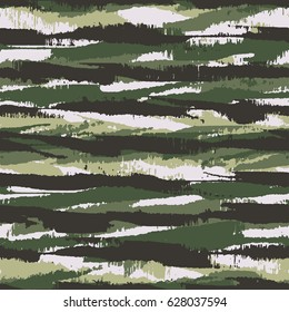 Abstract brushstrokes textured irregular striped camouflage motif. Seamless pattern.