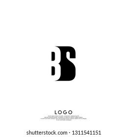 abstract BS logo letters design concept in shadow shape