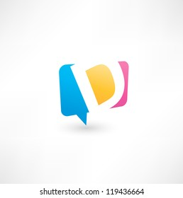 Abstract bubble icon  based on the letter D