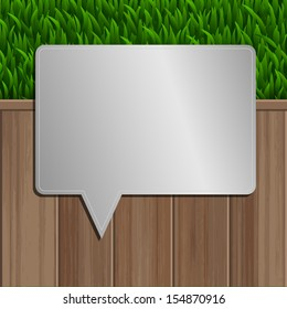 Abstract bubble metal on wooden background and green grass - Vector illustration