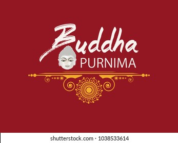 Abstract Buddha Purnima / Guru Purnima vector illustration with Buddha purnima text and face of buddha