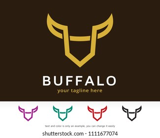 Abstract Buffalo Logo Symbol Template Design Vector, Emblem, Design Concept, Creative Symbol, Icon