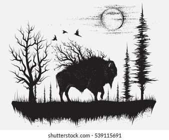 Abstract buffalo walking in the strange forest.Hand drawn vector illustration