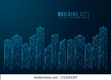Abstract building digital on blue background. Wire frame 3D of city landscape mesh network line, design sphere, dot and structure. Vector illustration eps 10.