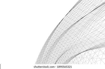 abstrakte Gebäude, architektonische Zeichnung 3d