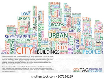 Abstract buildings made from words