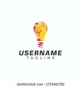 Abstract bulb template logo in red, orange and yellow.