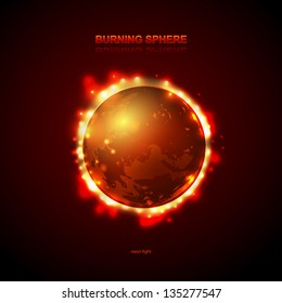 Abstract burning fire circle. Planet