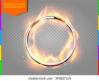 Abstract burning golden frame light effect on transparent background. Flame with ring border. Round vector flame effect.