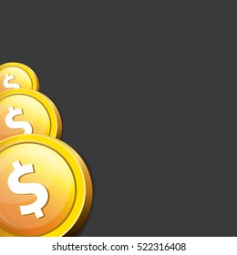 abstract business background with falling golden coins isolated on black background. flying coins vector background