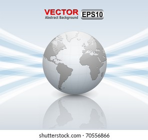 Abstract business background grey with earth globe, vector.