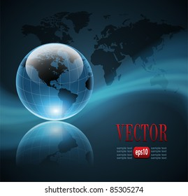 Abstract business background with world globe, vector