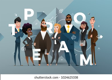 Abstract Business Banner Design with Cartoon Characters
