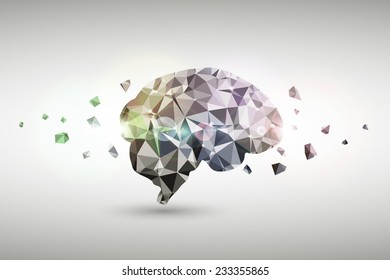 Abstract business brain polygonal design concept bright background. Vector illustration