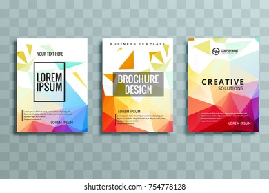 Abstract business brochure stationery set vector