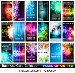 Abstract Business Card Collection: Flow of lights