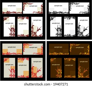 Abstract business card set with variations