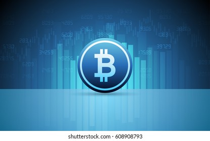 Abstract Business chart with bitcoin sign and numbers in stock market on gradient blue color background