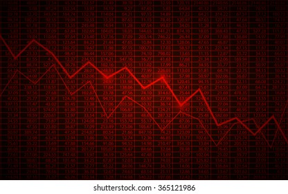 Abstract Business chart with downtrend line graph and stock numbers in bear market on dark red color background (vector)