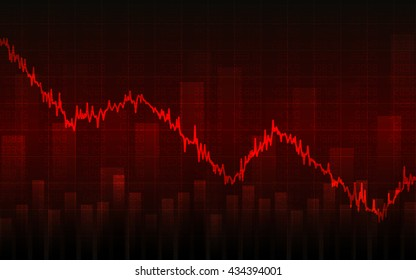 Abstract Business chart with downtrend line graph, bar chart and stock numbers in bear market on red color background (vector)