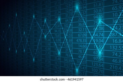 Abstract Business chart with line graph and stock numbers on blue color background (vector)