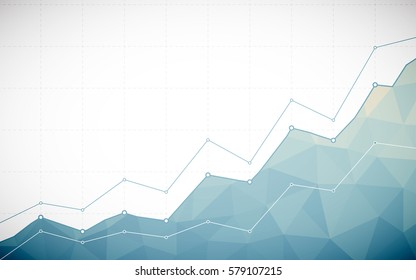 Abstract Business chart with line graph and gradient blue color polygon on white color background (vector)