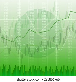 Abstract business chart with number and candlestick graph on green color background (vector)
