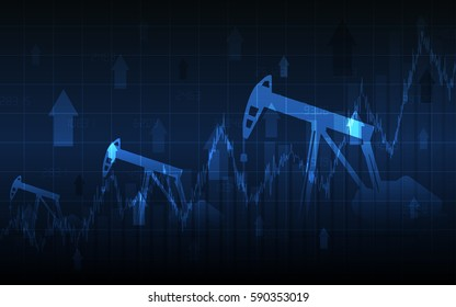 Abstract Business chart with Oil pumps and up arrows in stock market on gradient blue color background (vector)