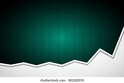 Abstract Business chart with uptrend line graph and stock numbers in bull market on dark green color background (vector)