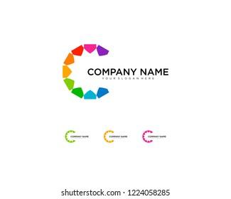 Abstract business company logo. Corporate identity design element. Color circle segments mix, round spectrum logotype idea. Multicolor art palette, paint swirl, rainbow concept. Colorful Vector icon