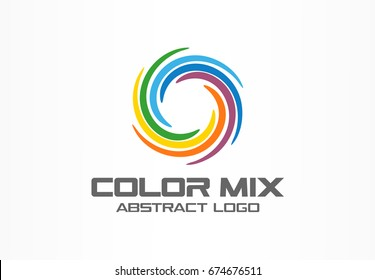 Abstract business company logo. Corporate identity design element. Color circle segments mix, round spectrum logotype idea. Multicolor art palette, paint swirl, rainbow concept. Colorful Vector icon