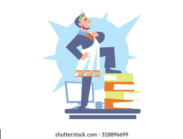 Abstract business concept of office life. Big boss himself is Julius Caesar. Office man character working in office vector illustration
