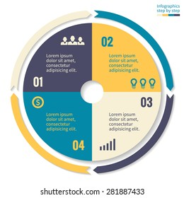 Abstract business concept pie chart with 4 steps, options, parts, processes. Vector template for presentation and training.