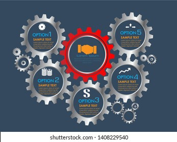 Abstract business infographic template with 5 gears and cogwheel diagrams in dark blue color background