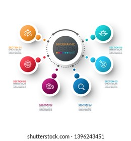 Abstract business infographics step options template.