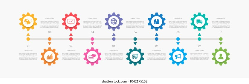 Abstract business infographics template with 10 gears and cogwheel diagrams in white color background