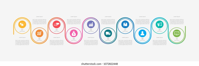 Abstract business infographics template with 10 circles on timeline diagrams in white color background