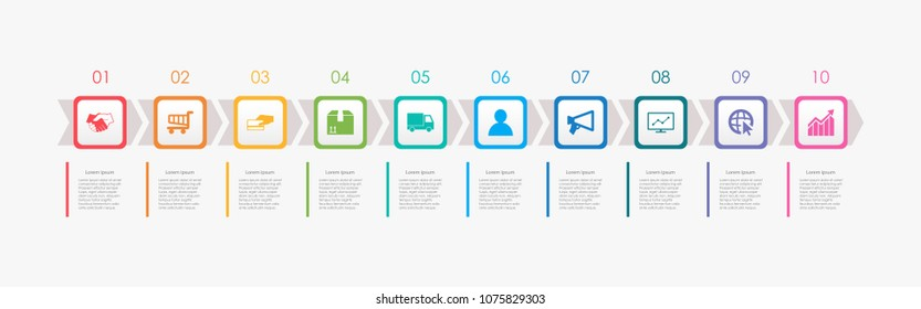 Abstract business infographics template with 10 squares and arrows on timeline diagrams in white color background