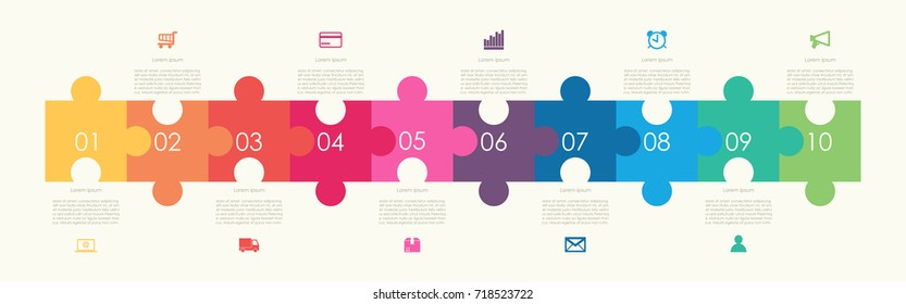 Abstract business infographics template with 10 puzzle on timeline diagrams in yellow color background