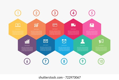 Abstract business infographics template with 10 hexagon box diagrams in white color background