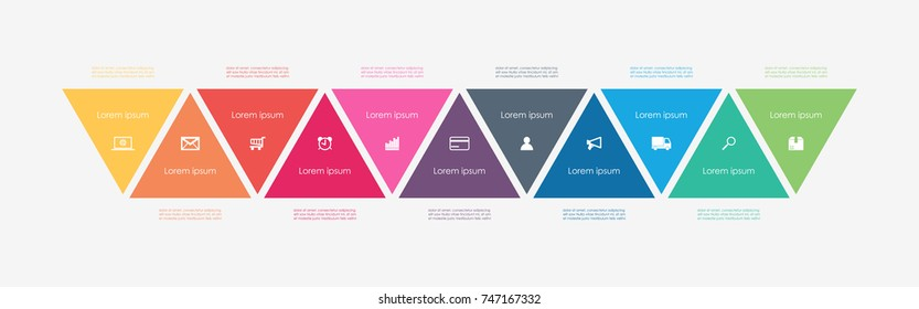 Abstract business infographics template with 11 triangle box and timeline diagrams in white color background