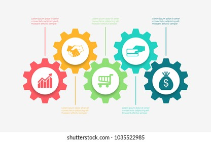 Abstract business infographics template with 5 gears and cogwheel diagrams in white color background
