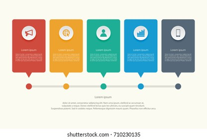 Abstract business infographics template with five box on timeline diagrams in yellow color background