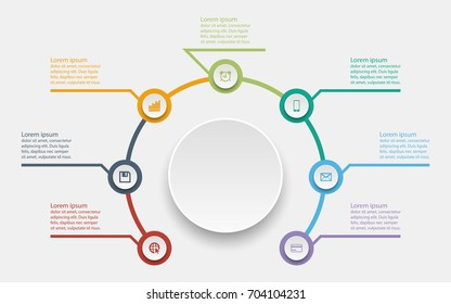 Abstract business infographics template with seven timeline circle diagrams on white color background