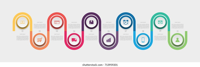 Abstract business infographics template with ten timeline diagrams on white color background