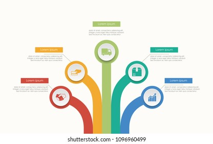 Abstract business infographics tree template diagrams in white color background