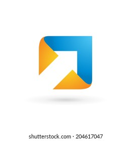 Abstract business logo icon design template with arrow. Vector color sign.