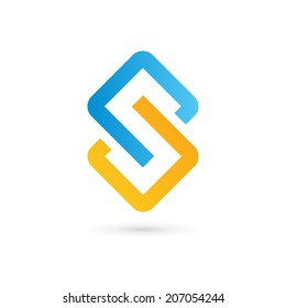 Abstract business logo icon design template with letter S. Vector communication color sign.